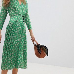 ASOS Pleated Midi Dress Side Buttons Floral Sz 10